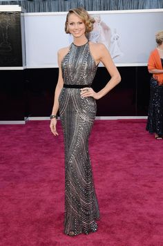 Stacy Keibler: Stacy Keibler (aka George Clooney's Oscar date) wore a silver beaded halter gown by Naeem Khan and finished it off with Lorraine Schwartz jewelry. Best Oscar Dresses, Dresses 2013, Nice Dresses, Party Dresses, Lorraine Schwartz, Stacy Keibler, Naeem Khan, Glamour, Giuseppe Zanotti