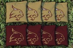 8 quality Texas State University Bobcats cornhole all weather plastic pellet filled bags, made of quality duck cloth material measuring 6 inches by 6 inches, weighing between 15 to 16 ounces. Tourname