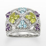 Sterling Silver Gemstone and Diamond Accent Ring