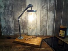 Rustic Industrial Chic Desk Lamp Barnwood Pipe Mason Jar Light Primitive Housewares Lighting Office from ThePinkToolBox on Etsy. Saved to Things I want. Desk Lamps, Lamp, Lighting Inspiration, Mason Jar Lighting, Rustic Industrial, Rustic Desk, Mason Jar Lamp, Rustic Industrial Coffee Table, Industrial Chic Desk