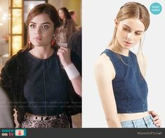 Aria's denim crop top on Pretty Little Liars.  Outfit Details: https://wornontv.net/56446/ #PLL