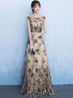 Sequined Evening Dress Illusion A Line Bow Sash Occasion Dress Champagne Jewel Sleeveless Floor Length Party Dress wedding guest dress Formal Prom, Formal Evening Dresses, Evening Gowns, Wedding Party Dresses, Prom Dresses, Robes D'occasion, Illusion Dress, Groom Dress, Maxi Dresses