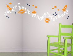 Outer Space Alphabet Wall Decal - Rocket, Alien, Stars, Planets - Childrens Bedroom Nursery Vinyl Wall Decal Sticker - CL110 via Etsy