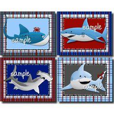 Set of 4 Shark Adventure Boys Bedroom Bedding 8 x by ToadAndLily