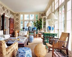 tory burch cococozy vogue sun room solarium woven chairs blue white chinese garden stools quadrille linens