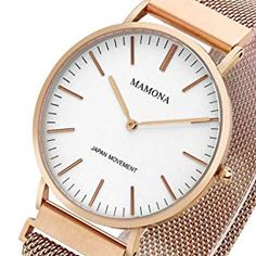 0b26b3293d90 women s fashion · Watches · MAMONA Damen Uhr Set Analog Quarz mit Edelstahl  Anpassbares Netzband Armband L3881RGGT  Amazon.de