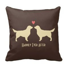 Golden Retrievers - Wedding Dogs with Text Throw Pillow #dog #love #wedding #ido #throwpillows #happilyeverafter See our full collection of wedding and love inspired throw pillows www.prettythrowpillows.com