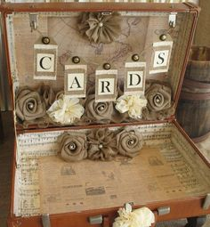 Terri has this same brown Samsonite suitcase that used to be your grandparents.  we will decorate it for cards similar to this but use your colors