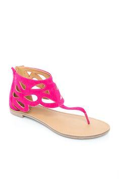 ShopSosie Style : Athena Sandal in Fuchsia Velvet