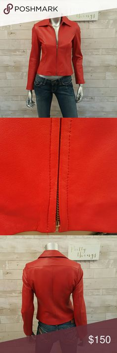 """ITALIAN Leather Red Zip Moto Jacket Size XS Genuine leather, made in Italy. Lined. Some very tiny spots of wear near the bottom zipper, light on the sleeve. Overall great condition! Measures 17"""" underarm to underarm, 12"""" length armpit to hem, 23.5"""" sleeve length, 15"""" across the shoulders.  Accepting offers! Lorenz  Jackets & Coats"""