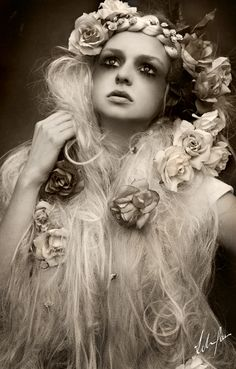 sorrow petal by felice fawn. Black and white special fx avant garde makeup pale pasty