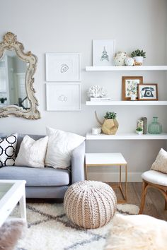 ... light blue white living room
