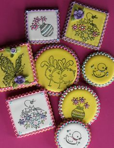 Julia M Usher, decorated Easter cookies, rubber-stamping cookies.  I followed back to her site and found out about using our rubber stamps on dry Royal Icing, what a great idea...then decorate.