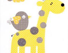 Gelb und grau Baumschule Artwork Print / / von 3000yardsofthread