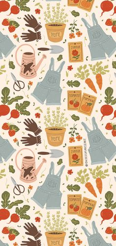 A handdrawn pattern featuring garden tools, vegetables, overalls, potted plants, garden seeds, and more, available on different types of fabrics. #spoonflower #pattern #gardening Spring Wallpaper, Wallpaper Iphone Cute, Aesthetic Iphone Wallpaper, Cute Wallpapers, Aesthetic Wallpapers, Cute Pattern, Pattern Art, Dibujos Pin Up, Garden Seeds