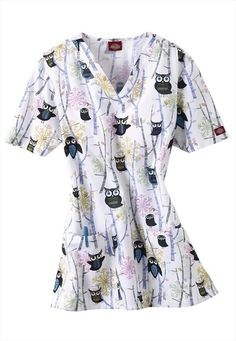2c37b99d51c Dickies Winter Hoot print v-neck scrub top. Certified Nurse, Scrubs Uniform,