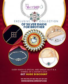 Shop Exclusive Collection of #SilverRakhi for Loving Brother.  Visit New Silver Shop & Jewellers today located at 7955 Torbram Road, #24, Brampton, ON L6T 5B9, Canada  Phone: 905-799-6700, 647-862-7600, 647-297-4041  Email: brjaura@gmail.com  Working Hours: Monday - Closed Tues-Sun: 11:00 a.m. to 8:00 p.m.  #Silver #NewSilverShop #SilverShop #Brampton #Ontario #Canada #SilverJewellery #Jewelry #Jewellery #SpecialSilverRakhi  #Rakhi #Special #RakshaBandhan #SilverRakhiBrampton #HugeDiscount Silver Rakhi, Rakhi For Brother, Silver Shop, Sister Love, Exclusive Collection, Silver Jewelry, Jewels, Unique, Jewelery