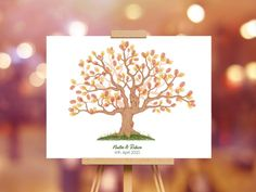 Instant Download Fingerprint Tree Newton wedding thumbprint   Etsy Wedding Fingerprint Tree, Fingerprint Art, Bridal Shower Decorations, Birthday Party Decorations, Presentation Pictures, Gift Drawing, Party Gifts, Place Card Holders, Etsy