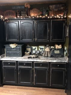 Kitchen Ideas Dark Wood Cabinets.Black Cabinets With Faux Distressing Used 3 Different Colors Of