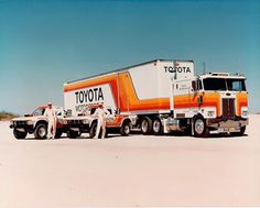 """Ivan """"ironman"""" Stuart's stadium trucks and the semi that hauled them around."""