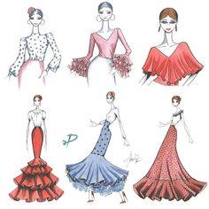 Los patrones de nuestras piezas sueltas también tienen descuentos. Aprovecha para hacerte el look que más te guste. Nosotras te proponemos estos conjuntos. #FelizViernes . . . . . #Patrones #PatronesModaFlamenca #PatronistaFlamenca #Volantes #Falda #Blusa #Lunares #Feria #Moda #Romeria #Diseño #DiseñoDeModa #Boceto #sketch #Acuarela Fashion Sketchbook, Fashion Sketches, Gipsy Fashion, Womens Fashion, Gypsy Dresses, Fashion Sewing, Vintage Pictures, Apparel Design, Kawaii