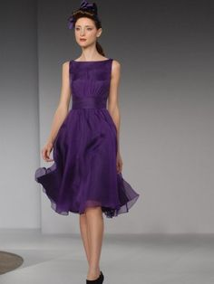 (FITS0249455)2012 Style A-line Bateau Sleeveless Knee-length Chiffon Cocktail Dresses / Homecoming Dresses