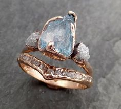 Aquamarine Diamond Raw Uncut rose 14k Gold Engagement Ring Multi stone Wedding Ring Custom One Of a Kind Gemstone Bespoke Three stone Ring byAngeline 0971