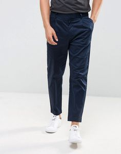 Kiomi Pleat Front Chinos In Navy - Navy