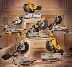 A fantastic range of DeWalt mitre saws! Dewalt Power Tools, Trailer Storage, Carpenter Tools, Belt Grinder, Electronics Components, Professional Tools, Miter Saw, Home Depot, Woodworking Tools