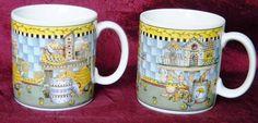 Vintage 1999 Sakura - Debbie Mumm Summer Garden Birds Stoneware Mugs Cups - PAIR
