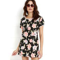 Rhythm Seychelles Peach and Black Floral Print Shirt Dress ($33) ❤ liked on Polyvore featuring dresses, black, cotton shift dress, short sleeve shift dress, cotton shirt dress, long shirt dress and shift dress