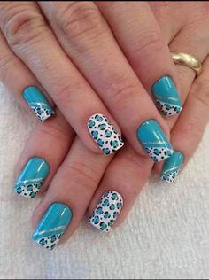 Foto Tiger Nails, Leopard Nails, Blue Nails, My Nails, Fancy Nails, Pretty Nails, Nail Design Spring, Cute Nail Art, Beautiful Nail Designs