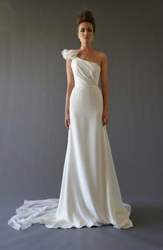 Asymmetric Sheath Wedding Dress  with Natural Waist in Chiffon. Bridal Gown Style Number:32530917