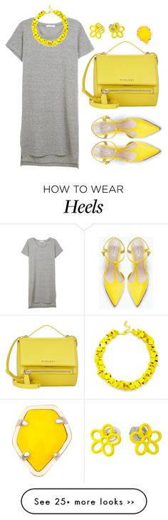 """Gray & Yellow"" by cherieaustin on Polyvore featuring Zara, Givenchy, Slate & Willow, Kendra Scott and Marc by Marc Jacobs"