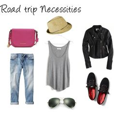 Road Trip Necessities | The Essentials | Traveling | ootd | boyfriend jeans | leather jacket | road trip outfits