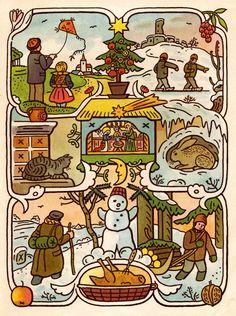 Down the rabbit hole: Josef Lada, costumes and Czech fairy tale movies Winter Illustration, Christmas Illustration, Illustration Art, Vintage Children's Books, Vintage Art, Prague, Classic Comics, Naive Art, Vintage Christmas Cards
