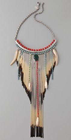 Iosselliani Shaded Fringe Shell Necklace #bohojewelry #bohofashion