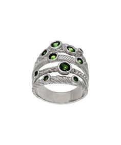 Loving this Chrome Diopside & Sterling Silver Multi-Row Ring on #zulily! #zulilyfinds