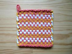 Pink Yellow and White Checked Vintage Style Woven Cotton Loop Loom Potholder Retro Modern Kitchen