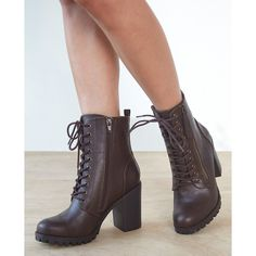 Fortune Dynamics  Soda Lug Heel Combat Boots ($35) ❤ liked on Polyvore featuring shoes, boots, ankle booties, ankle boots, brown, wet seal, brown combat boots, lace-up ankle boots, lace up booties and brown ankle booties