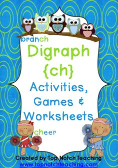 This pack includes fun, hands on activities and games for teaching the digraph 'ch'.  $ http://www.teacherspayteachers.com/Product/Digraph-Activities-Games-Worksheets-ch