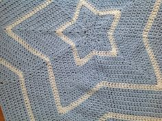 Star shaped blue and white baby boy crochet blanket by DrCraftsy