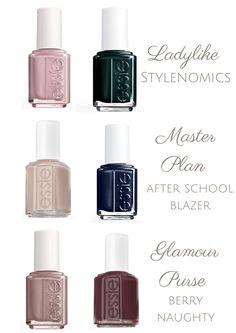 Nail Polish Combinations, Nail Color Combos, Fall Nail Colors, Fall Pedicure, Pedicure Colors, Pedicure Designs, Essie Nail Polish Colors, Nail Polish Designs, Essie Colors