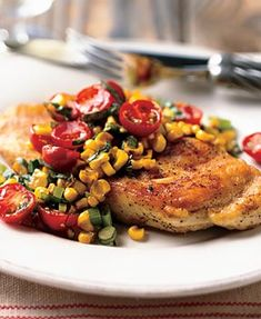 Chicken Paillards with Tomato, Basil, and Roasted-Corn Relish Recipe  at Epicurious.com