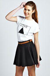 Giselle Scuba Skater Skirt With Belt