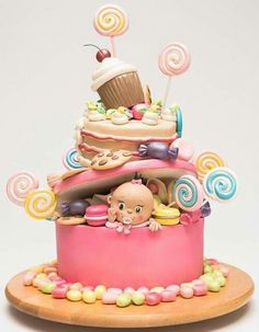 50 Amazing Baby Shower Cake Ideas that Will Inspire You in 2019 - Everythink for Babyshower Sweet Cakes, Cute Cakes, Candy Cakes, Cupcake Cakes, Beautiful Cakes, Amazing Cakes, Amazing Baby Shower Cakes, Baby Shower Cake Designs, Novelty Cakes