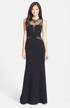 Prom Lace Inset Crepe Gown. I want this one so flipping bad. With my red pumps and silver jewelry.