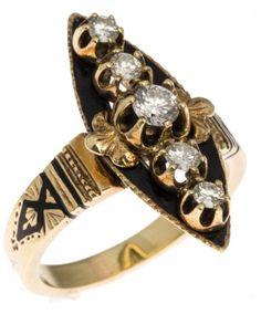 LADIES 14K GOLD ART DECO DIAMOND & ENAMEL RING 14K yellow gold black enamel and diamond ring. Marquise shaped black enamel center with five round cut diamonds set atop.