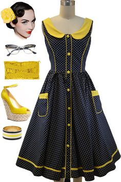 50s Style NAVY & YELLOW POLKA DOT Pinup SunDress with PETER PAN COLLAR & Pockets #privatemanufacturer #Sundress #Casual