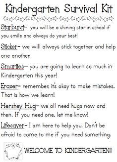 Kindergarten Survival Kit- Will be making something similar for students on Back to School night